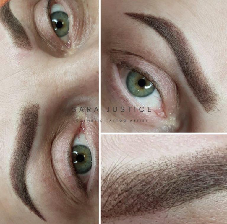 micropigmentation added to woman's eyeborws