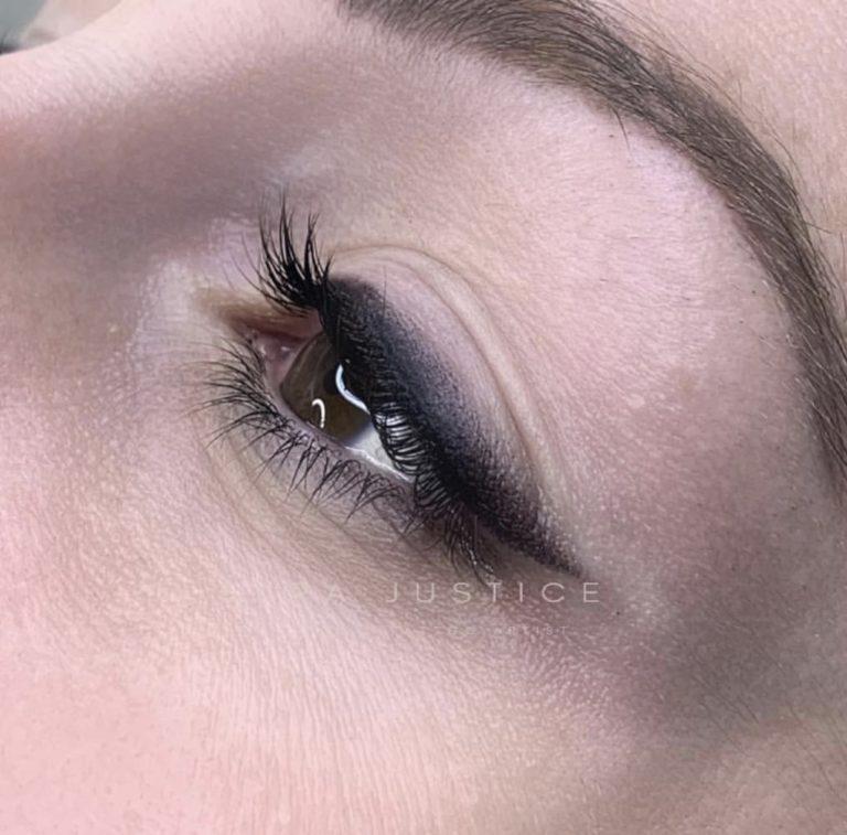 close up on eyeliner tattoo