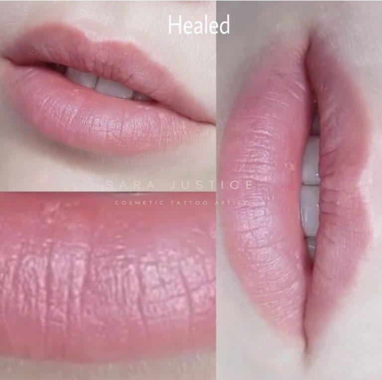 extreme close-up of healed lips