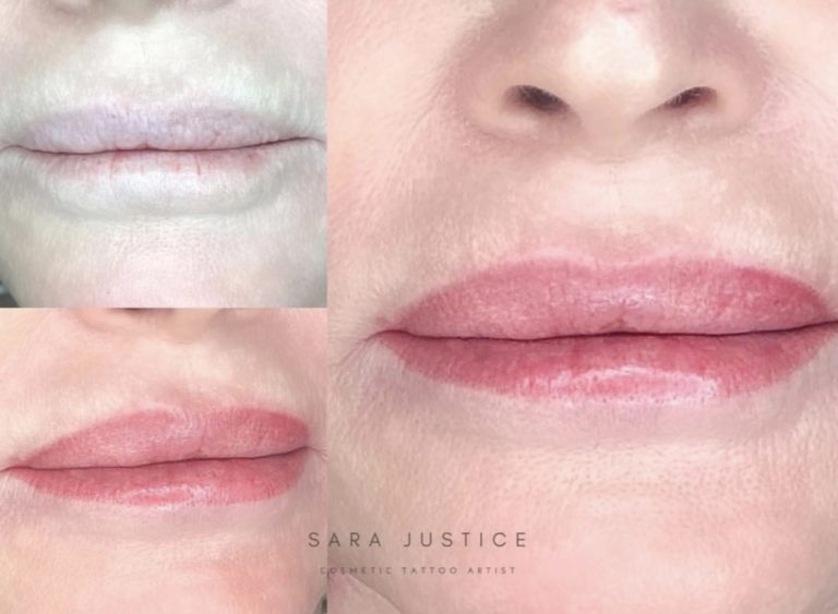three views of a lady's lips