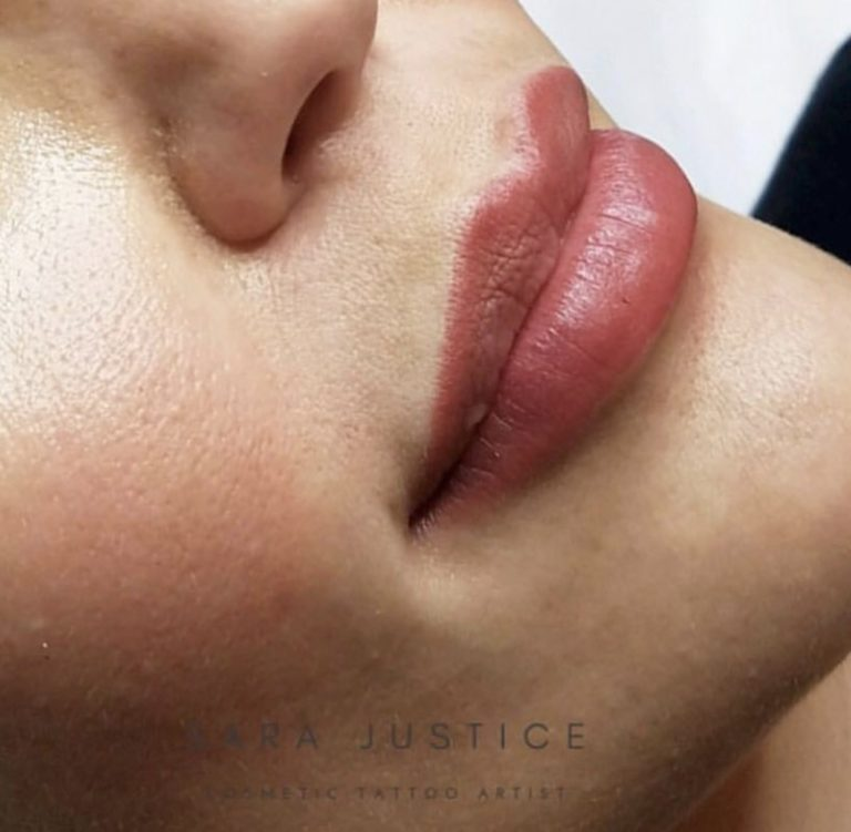 close-up on lips